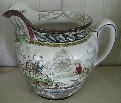 American Historical Buffalo Pottery Hand Decorated Jug, dated 1906