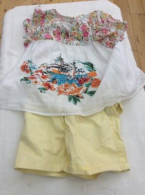 Girls Uttam Kids Floral Blouse With Stripy Shorts Yr 9/10/11 Yrs