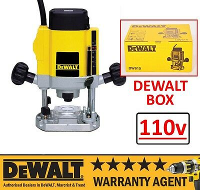 "DeWALT DW615 900W 110V 1/4"" Electronic Variable Speed Plunge Router NEW"