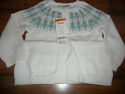 Gymboree All Spruced Up Cream Green Fair Isle Cardigan Sweater 18-24 Month Nwt