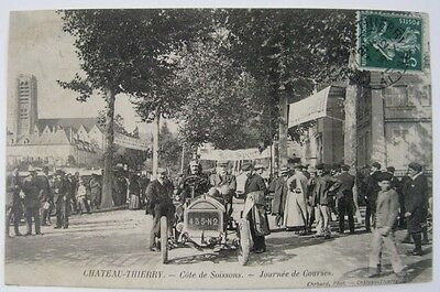 Ancienne Cpa Chateau Thierry Journee De Courses Automobile Animee 02