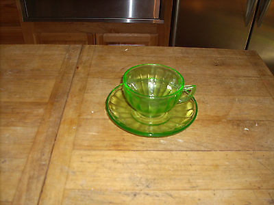 Federal Emerald Green Coffee Cup & Saucer Hostess Pattern