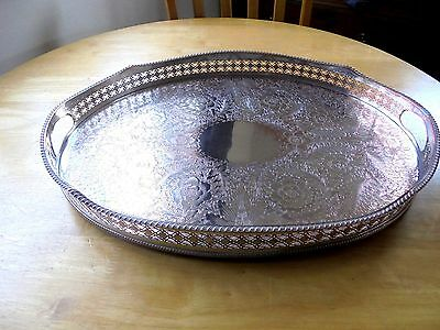 Large Oval Silver Plated on Copper Gallery Tray