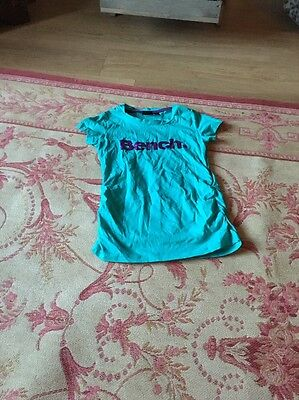 Age 9-10 Bench t-shirt. Turquoise And Purple  with short sleeves.