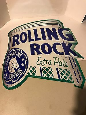 """Rolling Rock Extra Pale Tin Metal Sign 20"""" By 20"""" Embossed Man Cave Bar"""
