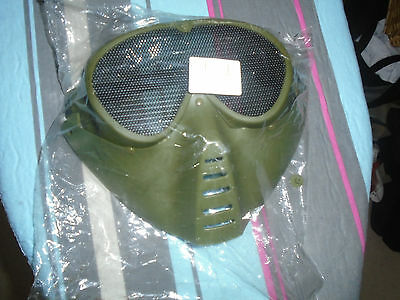 Green survival game face guard mask