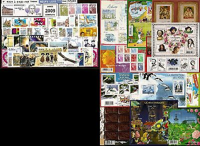 FRANCE Année COMPLETE 2009 - NEUF ** LUXE - 108 Timbres