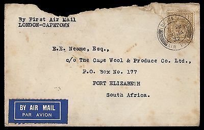 Great Britain London To South Africa 1932 First Flight Cover 1 Shilling