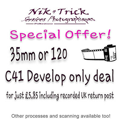 C41 Film Processing Special Offer Dev Only 35mm/120 Inc Recorded Return UK Post