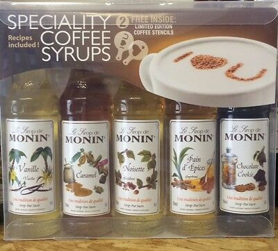 Monin Flavoured Coffee Syrups Gift Set 5 pack