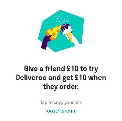 Deliveroo £10 Off - No Purchase Necessary