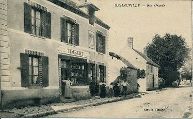 Cpa Remauville Rue Grande Epicerie Timbert Animee 77