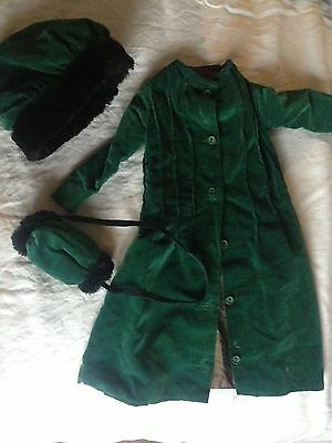Antique baby velveteen coat, bonnet and muff could be used for doll