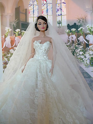 For Fashion Royalty or Barbie, Wedding Dress and veil NO DOLL