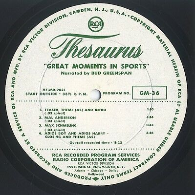 'Great Moments in Sports' LP RCA Thesaurus GM-36/37 Schmeling/Anderson/Gibson