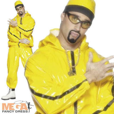 Ali G Rapper Mens Fancy Dress Celebrity Yellow Tracksuit Costume Outfit + Hat
