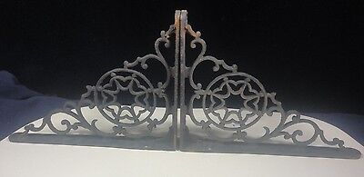 Antique 1800's Erly 1900's Pair Ornate Cast Iron Victorian Star Pr Shelf Bracket