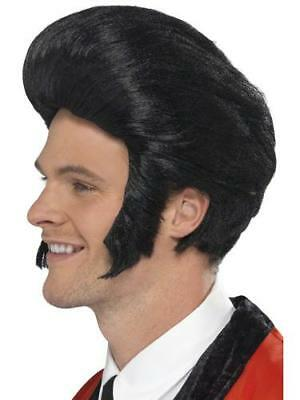 Black 50s Quiff Wig Mens 1950s Fancy Dress Grease Adult Elvis Costume Accessory