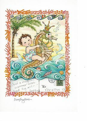"Mary Engelbrite Print Baby on Sea Horse ""And A Magical Time Was Had By All"" New"