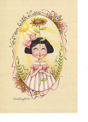 "Mary Engelbrite Print Girl With Flower ""To Mom, With Love"" New"