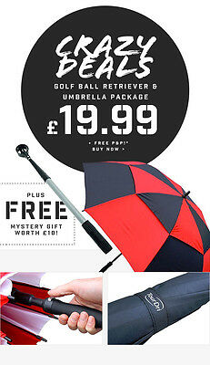 "Longridge 9ft Golf Ball Retriever & TourDri 60"" Umbrella Package 