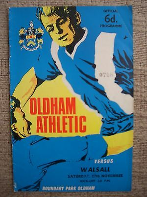 1965...OLDHAM ATHLETIC v WALSALL......Division 3.....Football Programme