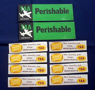 Ten Vintage Trans Australian Airlines (TAA) Luggage Labels/Stickers C1950s Era