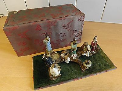 Vintage Chinese Figures On Base With Enclosing Lid