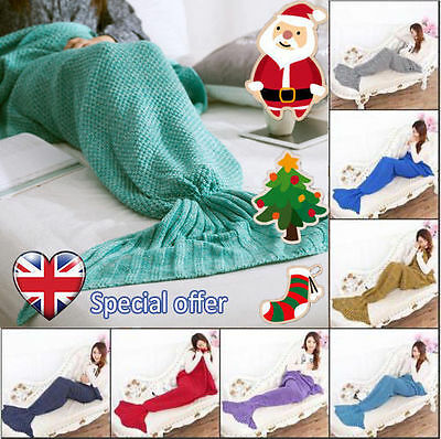 Ladies Womens Mermaid Tail Blanket knitted Cocoon Crochet Sofa quilt D1 Lot W4