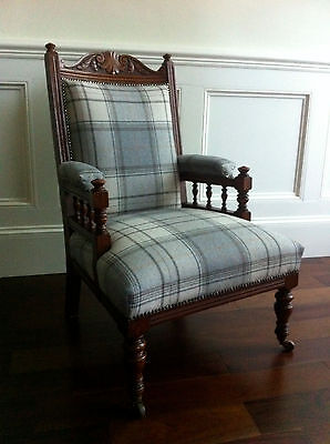 Antique Armchair upholstered in Grey Wool Plaid