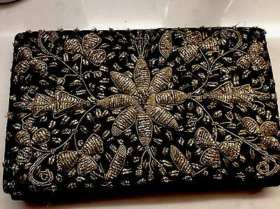 Vintage silver wire Heavily embroidered  Black velvet evening clutch bag