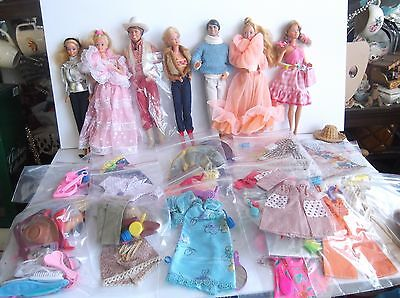 Barbie's Mixed Lot 6 Barbies & Over 20 Barbie Outfits Instant Christmas!