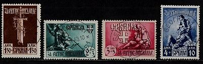 1943 SERBIA(war invalids relief fund)STAMP(F.USED) S.G.78-81