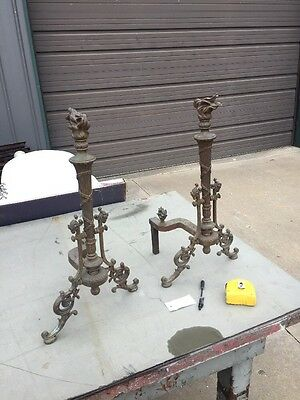 An One Pair Antique Bronze And Iron Torch Top Fireplace Andirons With Ramshead