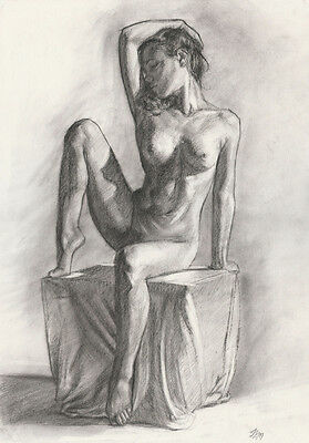Female Nude Original A3 sized Charcoal Drawing by Jim Montgomery Realism style