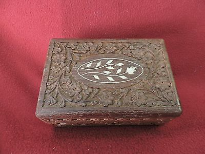 Vintage Wooden Trinket OR Jewelry Box with Carved Design and Whte Floral Inlay