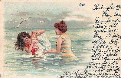 1901 ARTIST DRAWN ART POSTCARD ~ GLAMOUR ~ BATHING BEAUTIES FROLIC in the SEA
