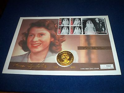 QUEEN ELIZABETH II COIN FIRST DAY COVER 5 CROWNS 75th BIRTHDAY 21st APRIL 2001