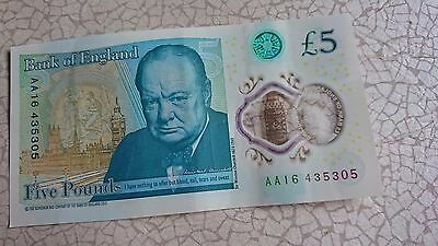AA16  NEW PLASTIC BANK OF ENGLAND £5 Five pound Note