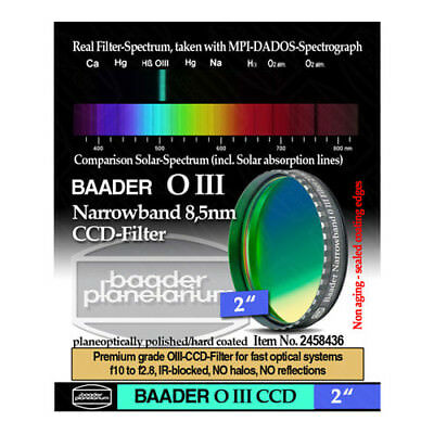 "Baader 2"" Narrowband O-III (8.5nm) CCD-Filter # FOIIIN-2 2458436"