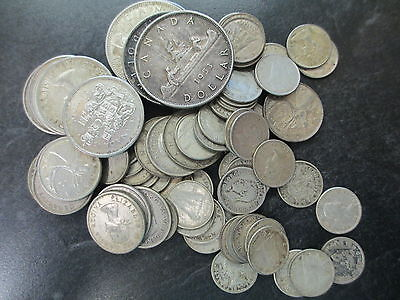 $15 Canadian Face Value 80% Silver Coin Lot Mixed Years Up To 1967