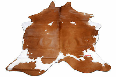 A-50 Brown and White Cowhide Rug 6.5 X 5.3 ft  Cow Hide Rug