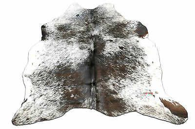 A-51 Brown and White Tricolor Cowhide Rug 5.5 X 5.5 ft  Cow Hide Rug