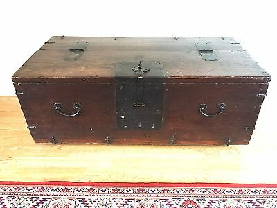 Antique 19th Century Iron Bound Trunk Treasure Seamans Chest Coffer