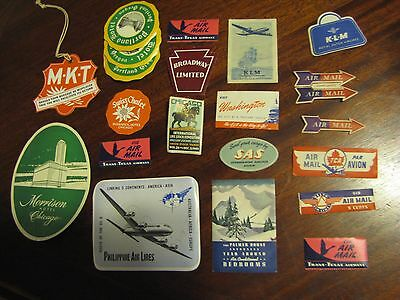 Lot of 21+ Vintage Hotel Luggage tags Labels Travel Stickers UNUSED 1920's 30's