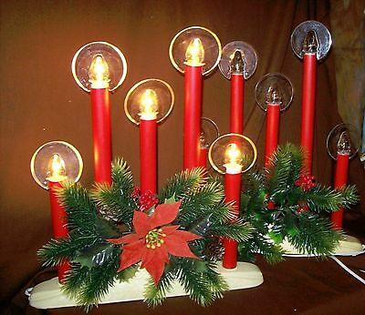 Lot of 2 Vintage Christmas Candelabras Electric 5 Light Halo Candles