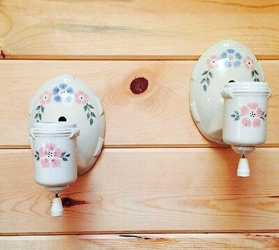 Vintage Antique Porcelain Porcelier Sconce Wall Light Fixture Lamp Matched Pair