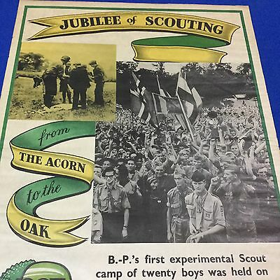 """Boy Scout Poster 1957 Jubilee Of Scouting 30"""" x 20"""""""