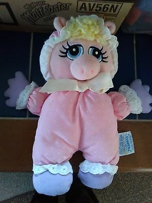 """muppets baby miss piggy cloth rattle  8"""" jim henderson  used"""