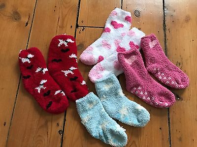4 Pairs Children's Uk Size 3-5 Fluffy Socks. Red, White, Pink, Blue